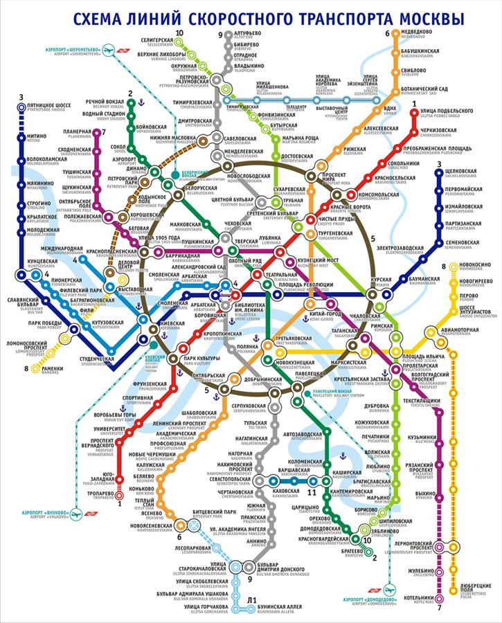 Moscow future rapid transport map 2015